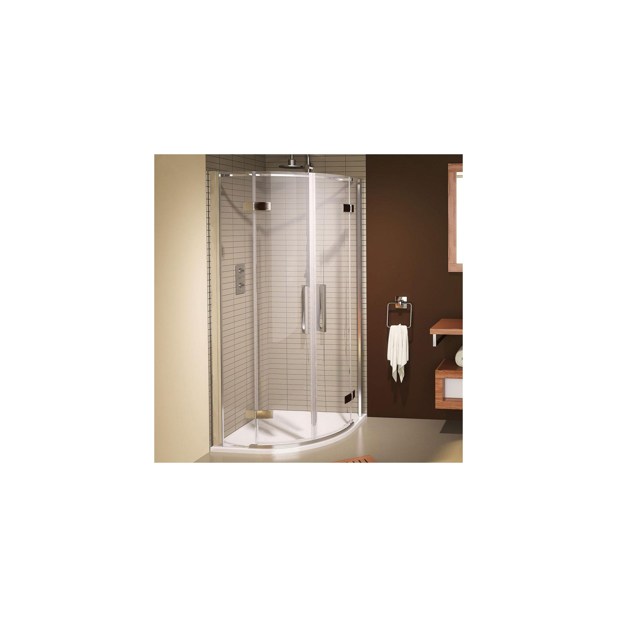 Aqualux AQUA8 Hinge Quadrant Shower Door, 800mm x 800mm, Polished Silver Frame, 8mm Glass at Tescos Direct