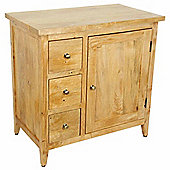 Homescapes Groove Oak Shade Solid Mango Wood Small Sideboard with Drawers