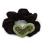 Rhodium Plated Swarovski Crystal 'Asymmetrical Heart' Pony Tail Black Hair Scrunchie - Olive/ Grass Green
