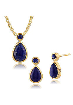 Gemondo Gold Plated Sterling Silver Lapis Lazuli Cabochon Stud Earrings & 45cm Necklace Set