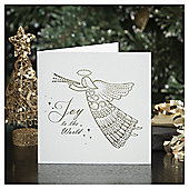 Tesco Silver Religious Angel And Dove Christmas Cards, 10 Pack