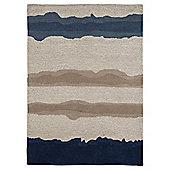 Ombre Stripe Wool Rug 160 x 230, Blue