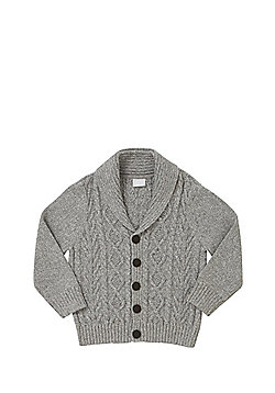 F&F Shawl Collar Cable Knit Cardigan - Grey