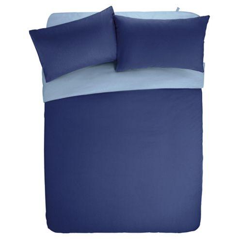 Tesco Basics Reversible Duvet Set Navy and Breeze Blue, Double