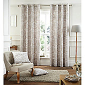 Catherine Lansfield Home Cotton Rich Toile Damask Natural Curtains 90x90