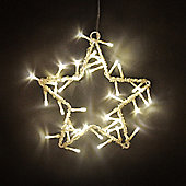 Silver Metal Star Wall Plaque with Warm White LED Fairy Lights