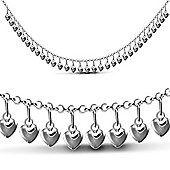 Jewelco London Sterling Silver Heart Chain - Ladies