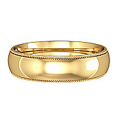 18ct Yellow Gold - 5mm Essential Court-Shaped Mill Grain Edge Band Commitment / Wedding Ring -