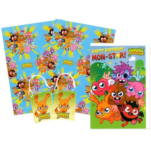 Moshi Monsters Wrapping Paper, Birthday Card and Gift Tags Pack