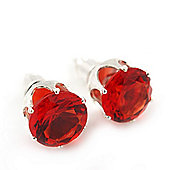 Classic Red Crystal Round Cut Stud Earrings In Silver Plating - 8mm Diameter
