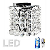 Regal 1 Way LED Wall Light in Chrome with Clear Acrylic Jewels