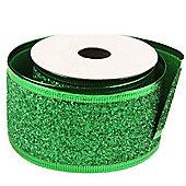 Ribbon Glitter Wired Edge - 5cm x 10y - Green