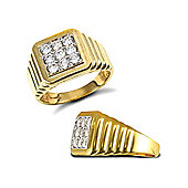 Jewelco London 9ct Solid gold men's CZ set cluster Ring with ribbed shoulders