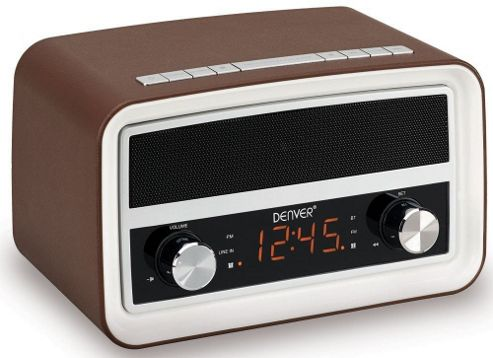 buy denver crb 619 brown retro radio alarm clock with bluetooth from our portable radio range. Black Bedroom Furniture Sets. Home Design Ideas