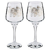 Tesco Pewter Pattern Grand Hotel Square Large Wine Glass