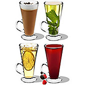 Pack of 4 Columbia Latte Glasses - Glass Cups for Coffee / Tea 280ml - 15cm tall