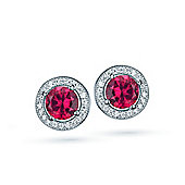 The REAL Effect Rhodium Coated Sterling Silver Ruby-Red-Colour Cubic Zirconia Stud Earrings