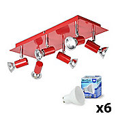 Consul 6 Way LED Ceiling Spotlight in Red & Chrome with Warm White GU10 Bulbs