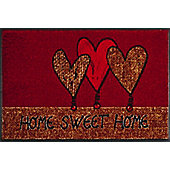 Wash & Dry by Kleen-Tex Home Hearts Flat Bordered Rug - 50cmx75cm