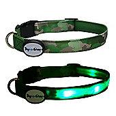Dog E Glow Camouflage Led Collar Green - Medium