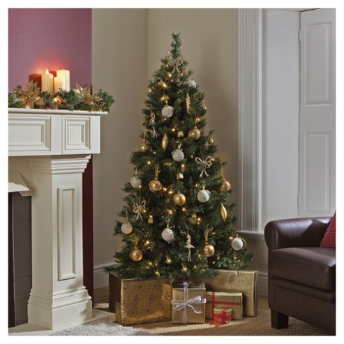 Festive 6ft Green Princess Pine Christmas Tree with Bright White Multifunction LED Lights