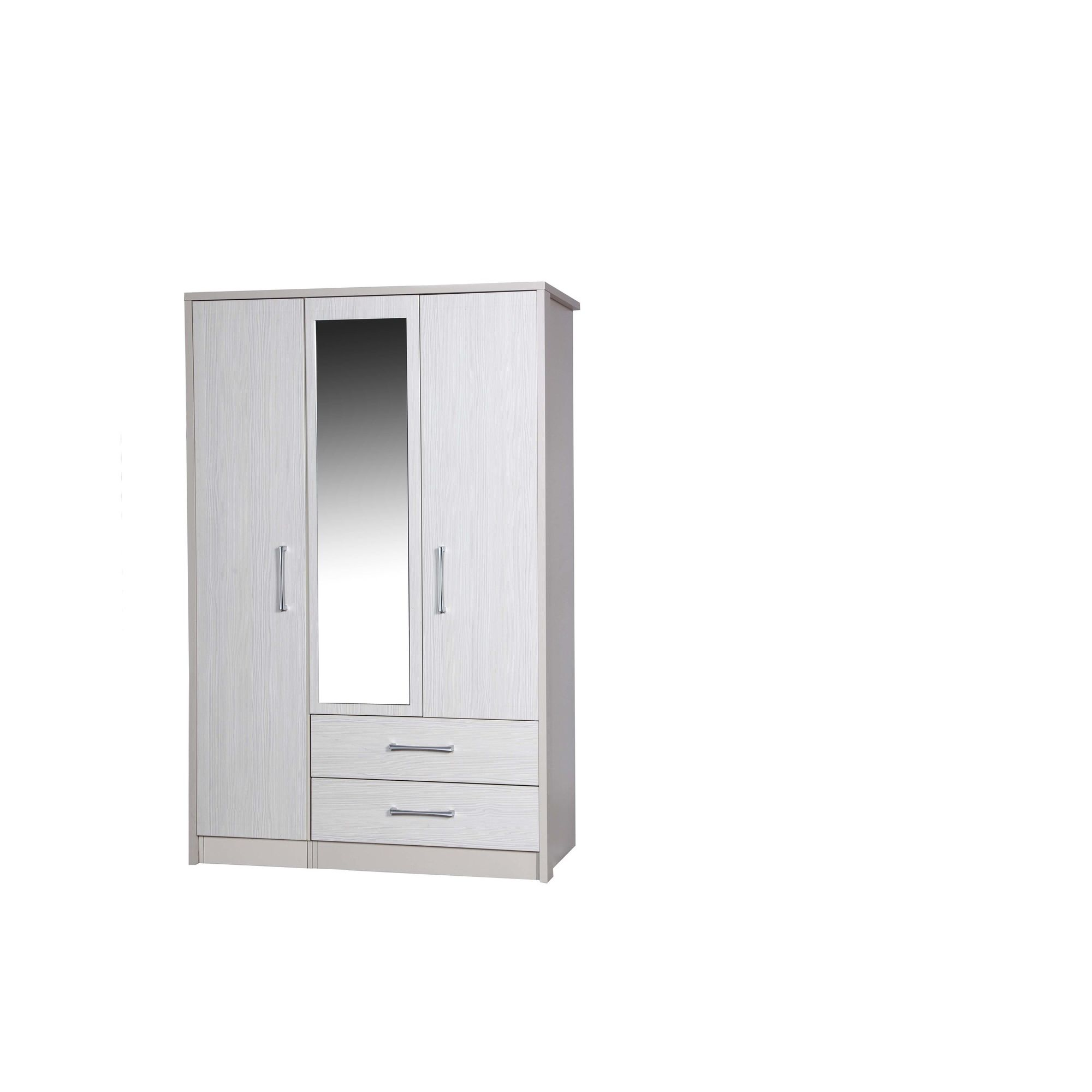 Alto Furniture Avola 3 Door Combi Wardrobe with Mirror - Cream Carcass With White Avola at Tesco Direct