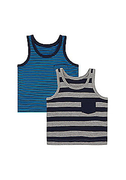 Mothercare Striped Vests - 2 Pack Size 18-24 months