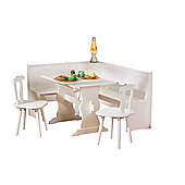 Interlink Donau Corner Kitchen Bench with Table and Two Chairs in White