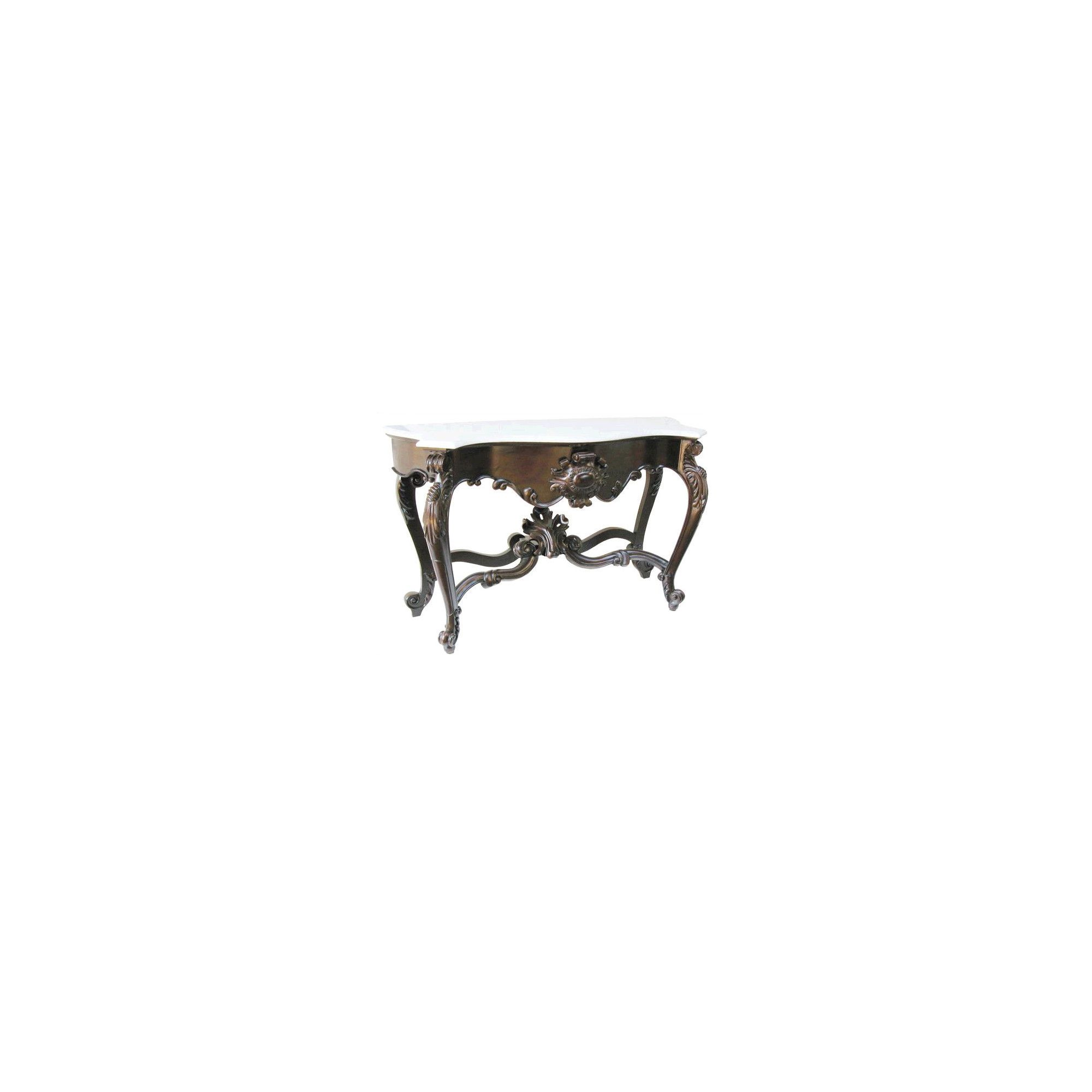 Lock stock and barrel Mahogany Marble Topped Carved Shell Console Table in Mahogany - Wax at Tesco Direct