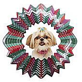 Iron Stop Designer Glitter Shih Tzu Wind Spinner 6.5in Garden Feature