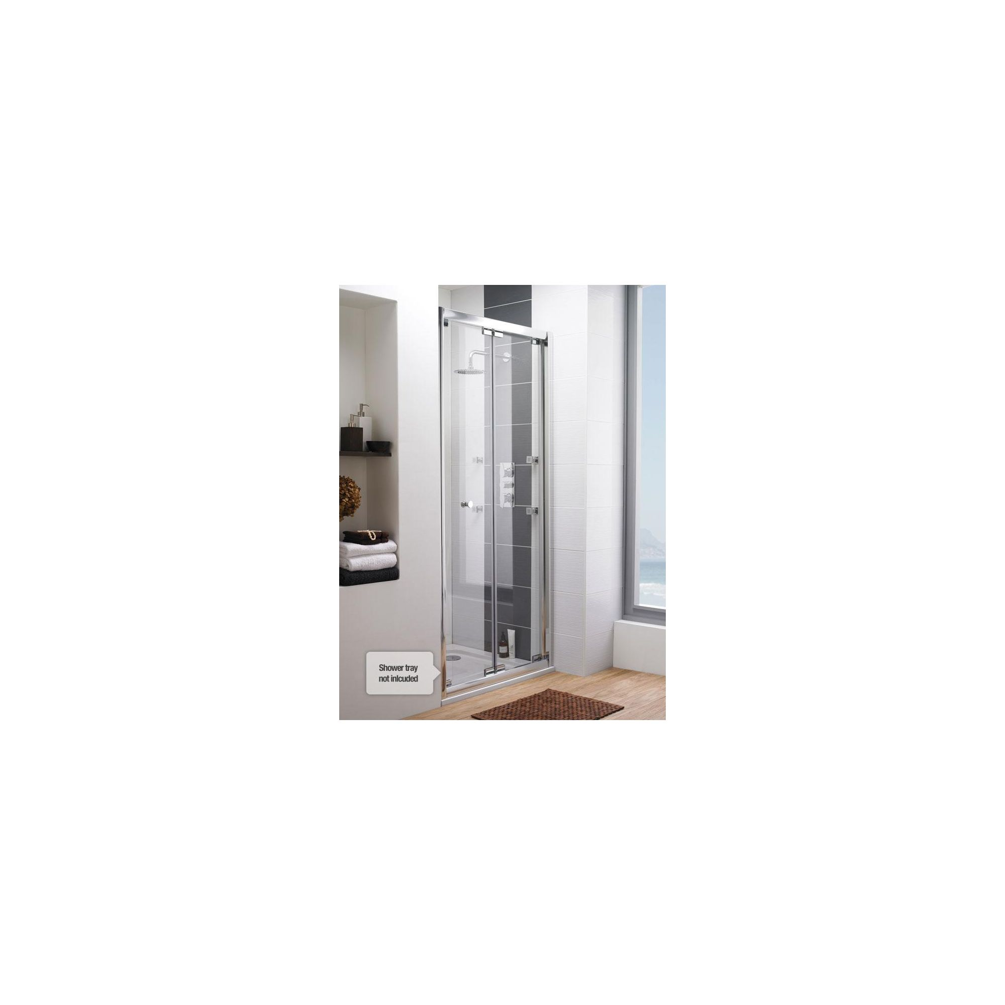 Ultra Roma Frameless Bi-Fold Shower Door, 900mm Wide, 6mm Glass at Tesco Direct