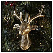 Gold Glitter Stag Head Christmas Tree Decoration