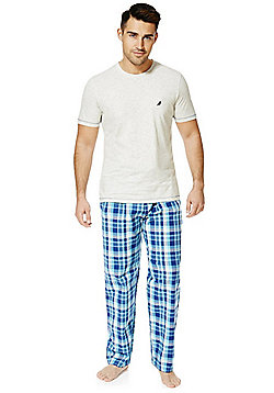 F&F Checked Bottoms Loungewear Set - Grey