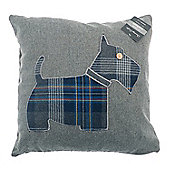 Country Club Scottie Dog Design Filled Scatter Cushion, Grey