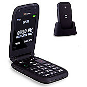 TTfone Meteor Big Button Flip Clamshell Sim Free Mobile Phone (Black)