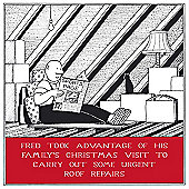 Holy Mackerel Greeting Card - Christmas Card - Roof Repairs at Xmas