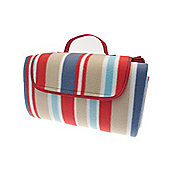 Country Club Picnic & Beach Blanket 130 x 150cm, Red & Blue Stripes