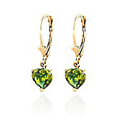 QP Jewellers 3.25ct Peridot Especial Affection Heart Earrings in 14K Gold