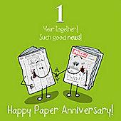 1st Wedding Anniversary Greetings Card - Paper Anniversary