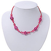 Children's Deep Pink 'Happy Face' Necklace - 36cm Length/ 4cm Extension