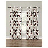 Leaf Printed Lined Eyelet Curtains - Red - 90 X 90