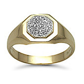 Jewelco London 9 Carat Yellow Gold 6pts Gents Hexagon Shape Diamond Ring