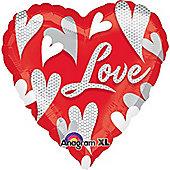 """Swirl Hearts Love Balloon - 18"""" Foil (each)"""