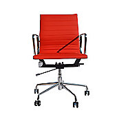 Eames EA117 Inspired Low Back Ribbed Red Faux Leather Office Chair