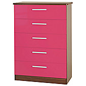 Welcome Furniture Knightsbridge 5 Drawer Chest - Black - Ruby