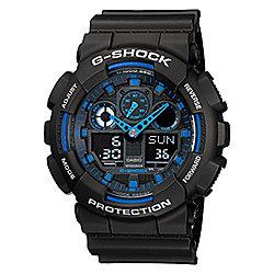Casio G-Shock Mens Black Chronograph Day & Date Watch GA-100-1A2ER
