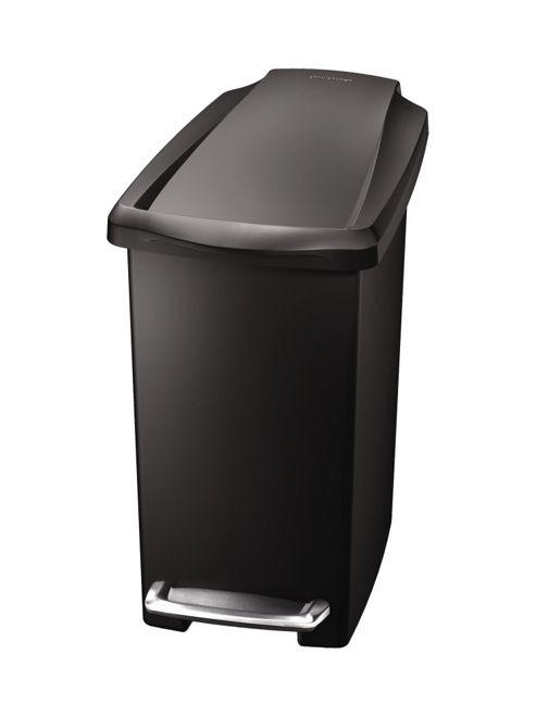 simplehuman 10 Litres Plastic Slim Pedal Bin in Black