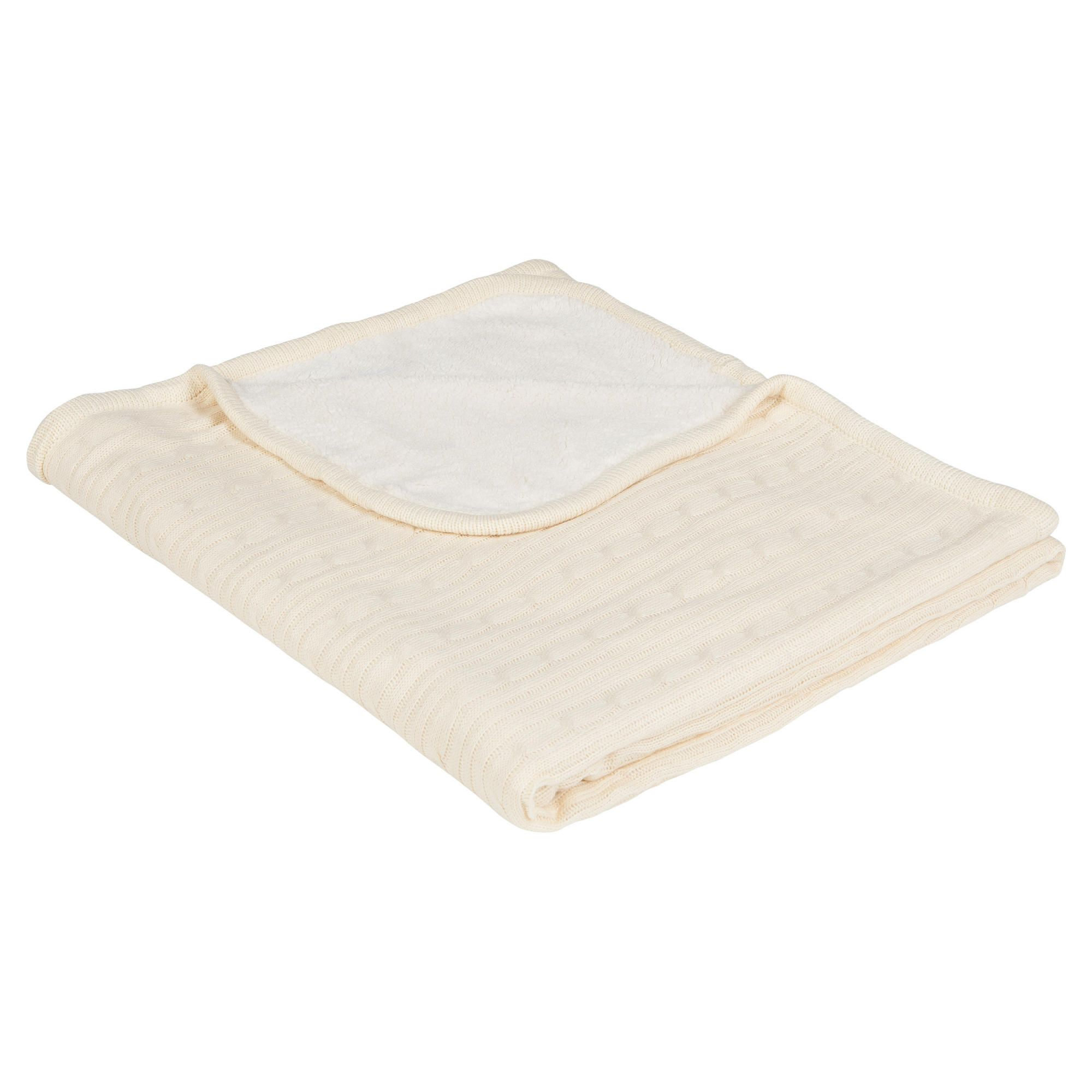 Reversible Knit/Fleecy throw Cream