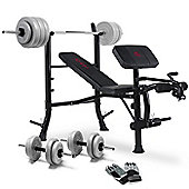 Marcy Eclipse Barbell Weight Bench With 50kg Vinyl Weight Set & Gloves
