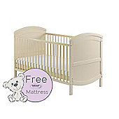 Baby Elegance Walt Cot Bed & Healthguard Mattress - Cream